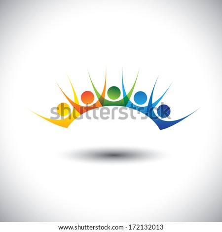 Colorful happy, excited set of people enjoying, having fun. This graphic illustration can represent children having good time, friends party, excited team members, happy employees, satisfied customers - stock photo