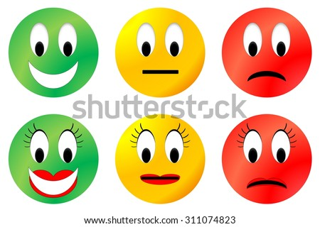 Colorful happy, neutral and unhappy smiley, male and female - stock photo