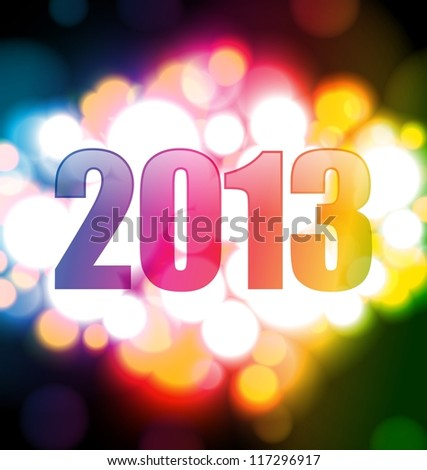 Colorful Happy new year 2013 card - RASTER VERSION - stock photo