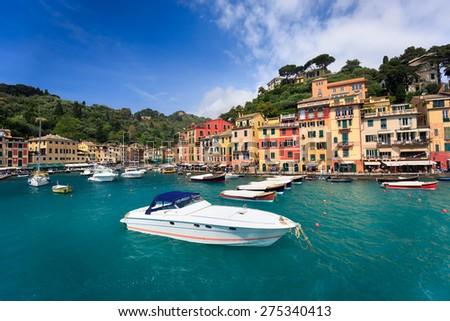 Colorful harbor of Portofino, Liguria, Italy - stock photo