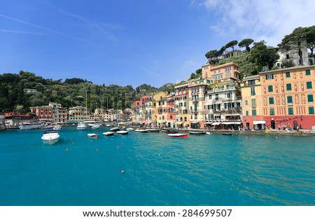 Colorful harbor of Portofino, Liguria, Italy. View from the Sea - stock photo