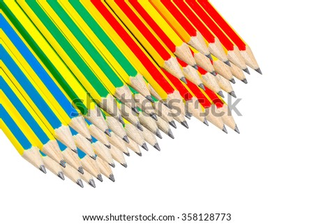 Colorful hb pencils against stackable a white background. - stock photo