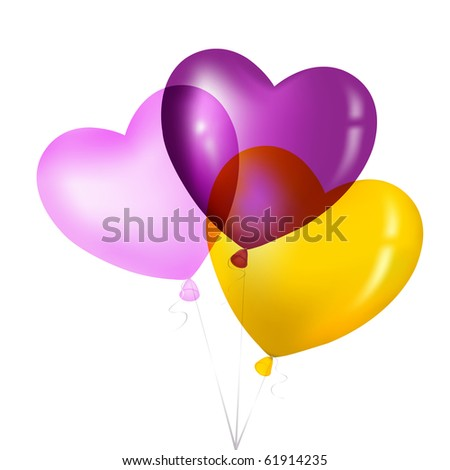 Colorful Heart Shape Balloons, Yellow, Pink And Magenta, Isolated on white. - stock photo