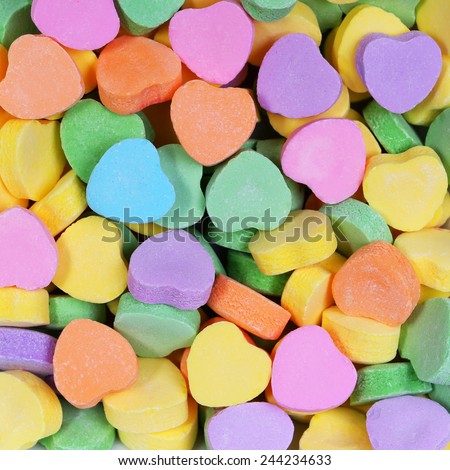 Colorful Hearts background. Sweetheart Candy. Valentines Day  - stock photo