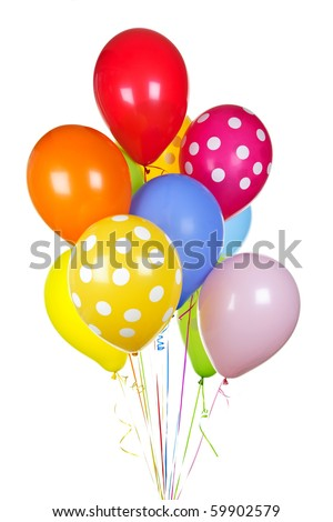 Colorful helium balloons isolated on white background - stock photo