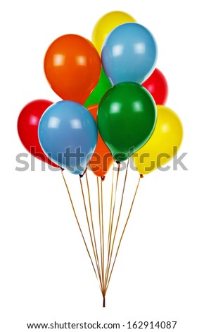 Colorful helium party balloons on white background - stock photo