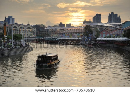 Colorful Historic Houses by Singapore River at Clarke Quay - stock photo