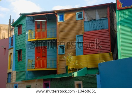 Colorful homes in La Boca - Buenos Aires La boca - Caminito,  Buenos Aires - stock photo
