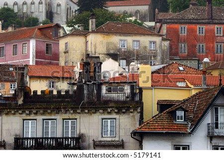 colorful homes on a hill in Sintra, Portugal - stock photo