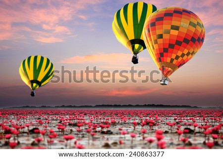 Colorful hot air balloon over talay baudang udonthani thailand  - stock photo