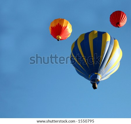 Colorful Hot Air Balloon Ride - stock photo