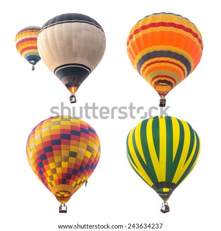 colorful hot air balloons isolated on white background  - stock photo