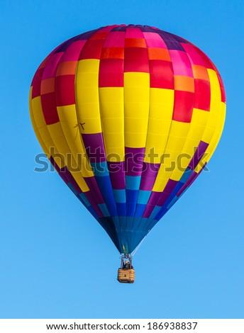Colorful hot air balloons over blue sky. Albuquerque balloon festival. - stock photo
