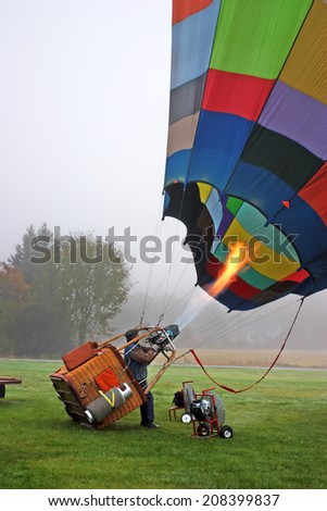 Colorful Hot air balloons preparing for flight in Vermont   - stock photo