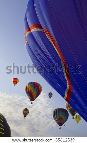 colorful hot air balloons race - stock photo