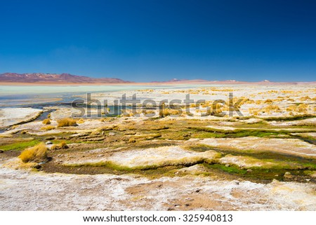 Colorful hot spring with deposits of minerals and algae on the Andean Highlands, Bolivia. Salt lake, mountain range and volcanos in the background on the way to the famous Uyuni Salt Flat. - stock photo