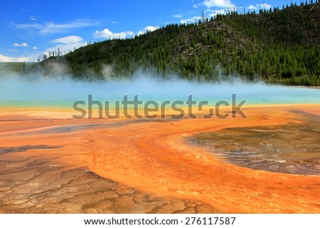 Colorful hotspring in Yellowstone, Wyoming, USA. - stock photo