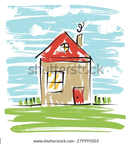 Colorful house, kids drawing - stock photo