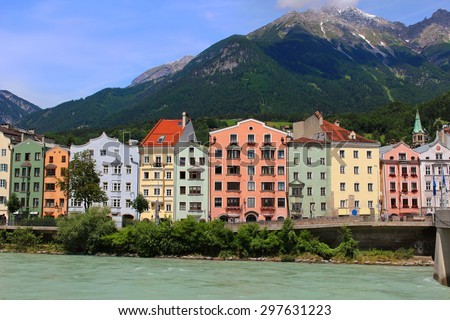 Colorful houses along the river in Innsbruck, Austria - stock photo