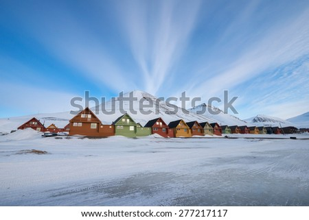 Colorful houses at Longyearbyen, the northern most settlement in the world - stock photo