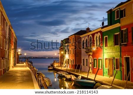 Colorful houses in Burano at dusk, Venetian Lagoon,Italy.   - stock photo