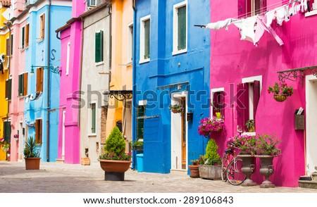 Colorful houses in Burano island, Venice - stock photo