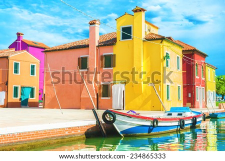 Colorful houses in Burano, Italy. - stock photo