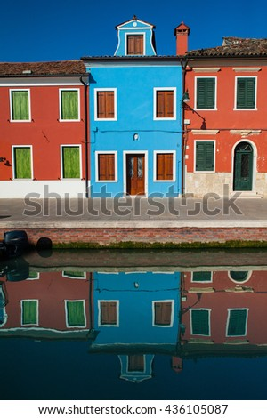 Colorful houses in Burano, Italy - stock photo