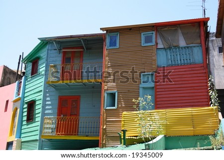 colorful houses in El Caminito Buenos Aires - stock photo