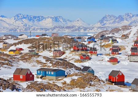 Colorful houses in Greenland in spring time - stock photo