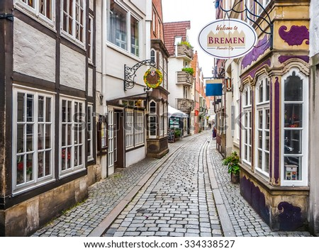 Colorful houses in historic Schnoorviertel in Bremen, Germany - stock photo