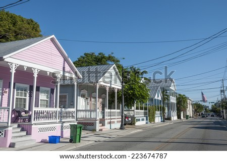 Colorful houses in Key West, Florida, USA - stock photo