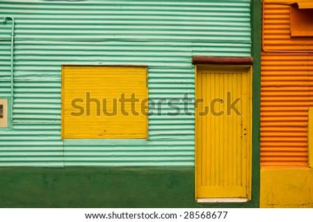 Colorful houses  in La Boca, Caminito, a tourist attraction in Buenos Aires, Argentina. - stock photo