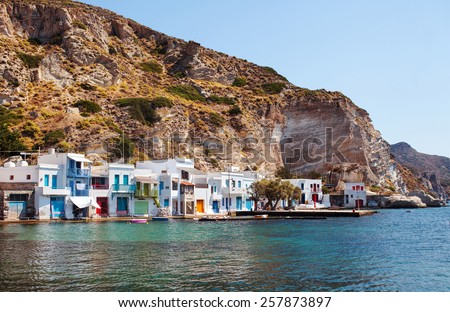 Colorful houses in the Village of Klima. Milos Island, Greece. - stock photo
