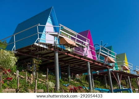 colorful houses near cliff - stock photo