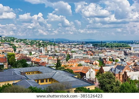 Colorful houses of Budapest  Hungary in springtime  - stock photo