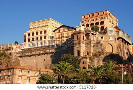 Colorful houses of italian city - stock photo