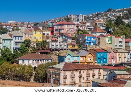 Colorful houses on hills of Valparaiso, Chile - stock photo