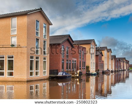 Colorful houses on the Water Edge in Amersfoort, Netherlands - stock photo