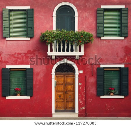 Colorful houses taken on Burano island , Venice, Italy - stock photo