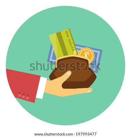 Colorful icon of the hand of a businessman giving a purse filled with money and a bank card in a concept of the granting of a financial credit or loan - stock photo