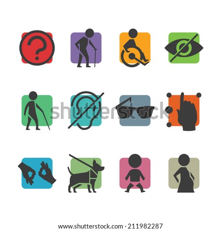Colorful icon set of access signs for physically disabled people like blind deaf mute and wheelchair - stock photo