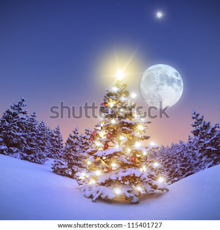 Colorful illuminated Christmastree in snowy Forest 3D - stock photo