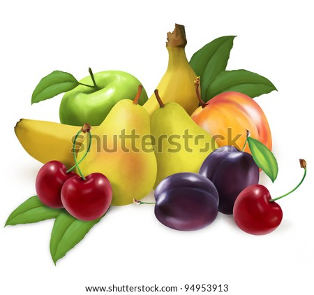 colorful illustrated fruits - stock photo