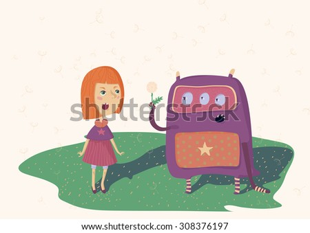 Colorful illustration of girl and monster, who stay in meadow with dandelions. Horizontal, raster. - stock photo