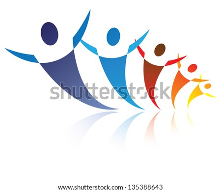 Colorful illustration of people together being positive and happy, The graphic represents symbols/icons of people as a community or friends or social network - stock photo
