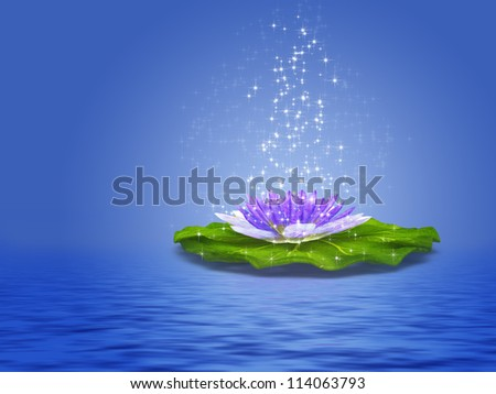 Colorful illustration of purple water lily with sparkles. - stock photo