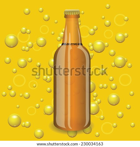 colorful illustration with beer bottle on a yellow bubbles  background - stock photo