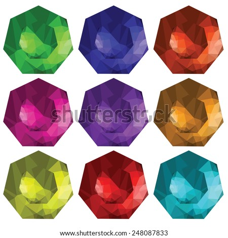 colorful illustration  with brilliant cut gems on white  background - stock photo