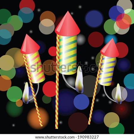colorful illustration with fireworks on a blurred background for your design - stock photo